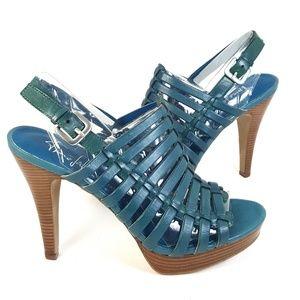 Franco Sarto Teal Leather Caged Heel Sandal 6.5